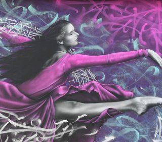 Fresque « Danse avec la vie » (Snek) Grenoble Street Art Festival 2018, façade de l'école Vaillant-Couturier