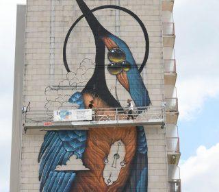 fresque « Le pigeon Voyageur » (Veks Van Hillik) GSAF 2018