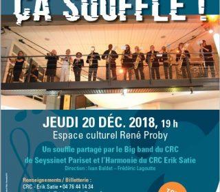 Portail culturel - CA SOUFFLE !  Big band du CRC de Seyssinet Pariset et l'Harmonie du CRC Erik Satie