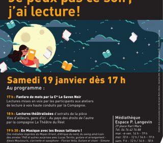 Portail culturel - Je peux pas ce soir, jai lecture ! NUIT DE LA LECTURE - Médiathèque Paul Langevin